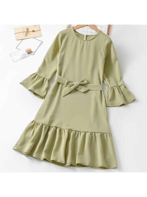 【3Y-11Y】Girl Sweet Green Long Sleeve Dress