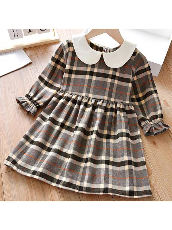【18M-7Y】Girl Sweet Plaid Long Sleeve Dress