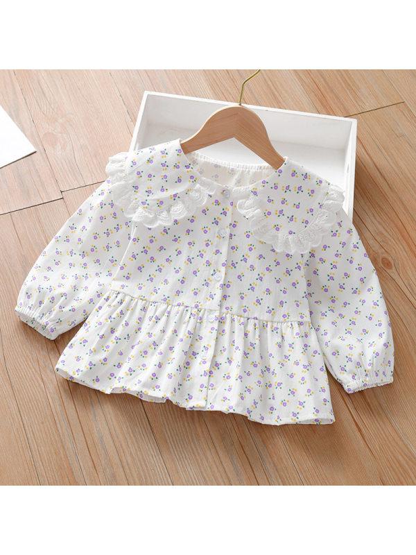【18M-9Y】Girl Ditsy Floral Dollar Collar Long Sleeve Shirt