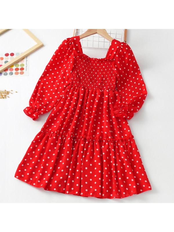 【3Y-11Y】Girl Sweet Red Polka Dot Long Sleeve Dress