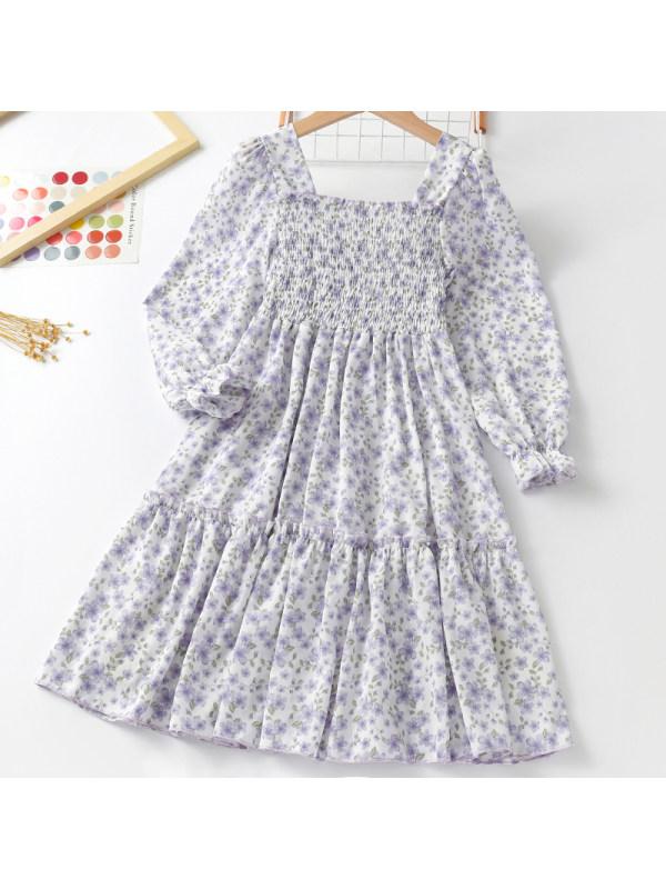 【3Y-11Y】Girl Sweet Purple Floral Long Sleeve Dress