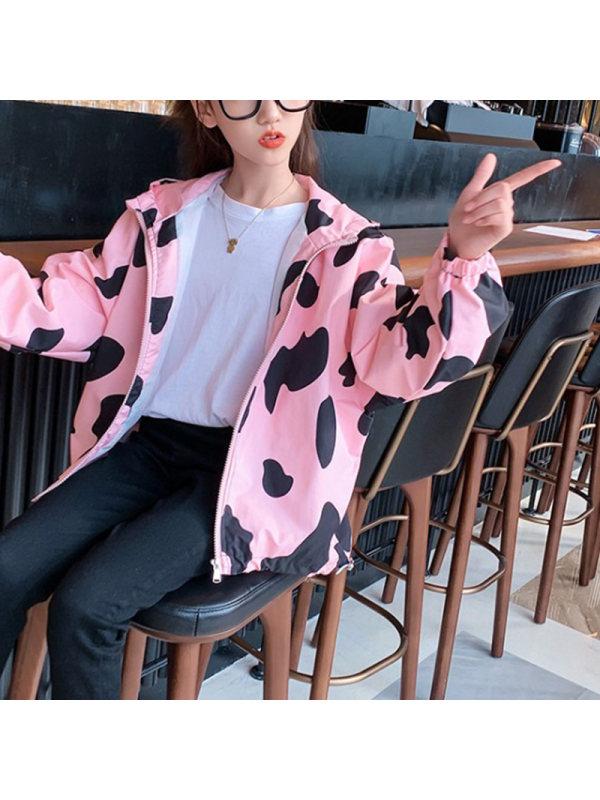 【4Y-15Y】Girls Cartoon Print Hooded Jacket