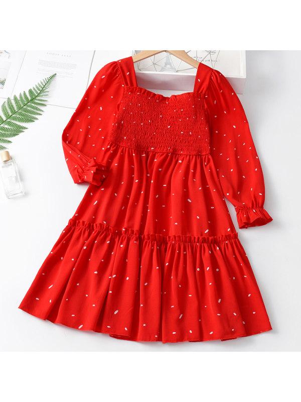 【3Y-11Y】Girl Sweet Red Long Sleeve Dress