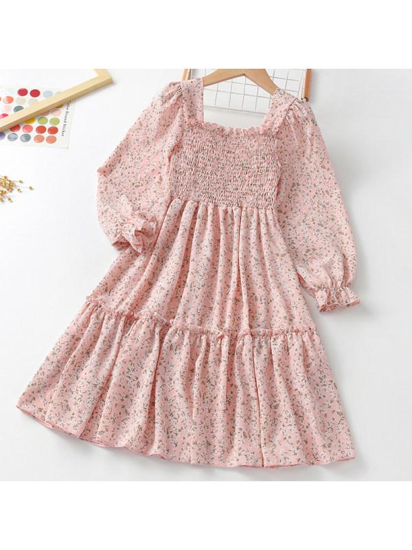 【3Y-11Y】Girl Sweet Pink Floral Long Sleeve Dress