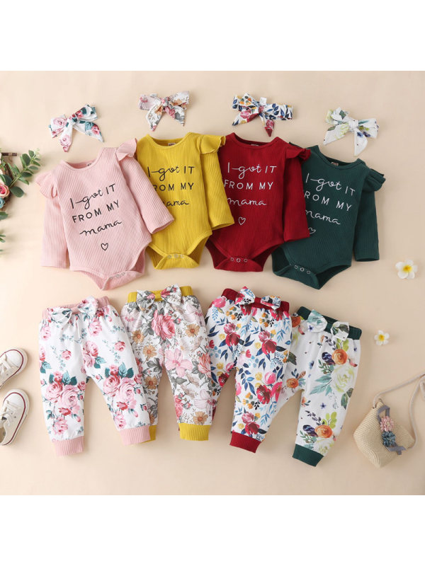 【0M-12M】Baby Letter Prints Long Sleeve Romper And Floral Print Pants Set With Headband 3-piece Suit