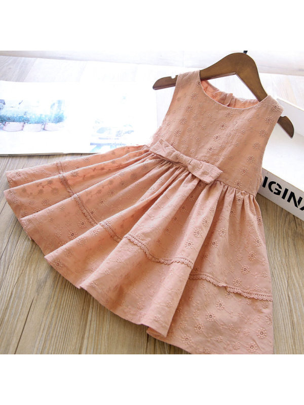【18M-7Y】Girls Sweet Bowknot Embroidery Sleeveless Dress