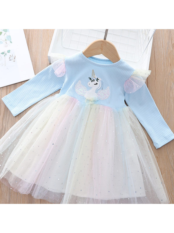 【18M-7Y】Girls Sweet Unicorn Sequins Layered Tulle Dress