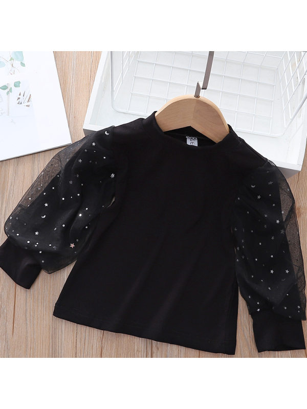 【18M-7Y】Girls Sweet Tulle Double Layer Puff Sleeve Shirt