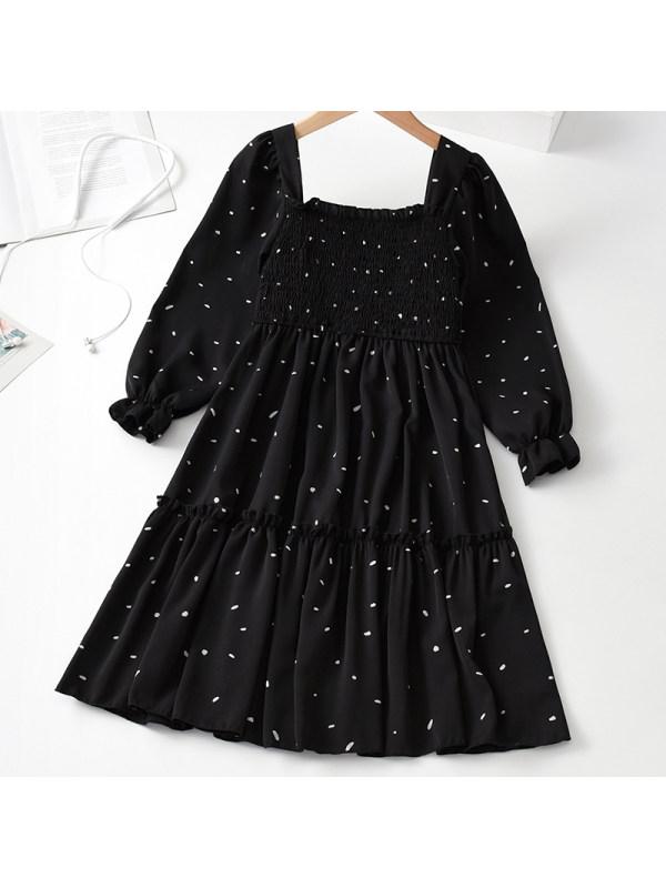 【3Y-11Y】Girl Sweet Black Long Sleeve Dress