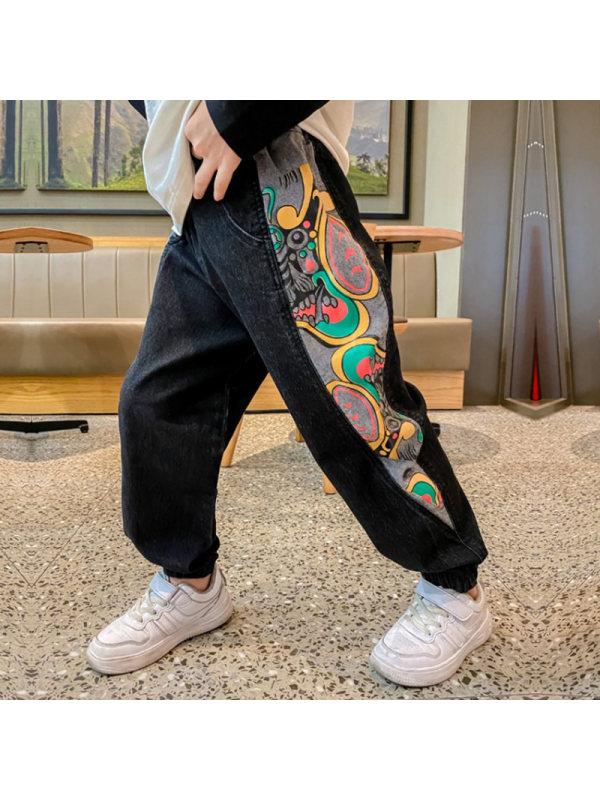 【3Y-13Y】Boys Stitching Cartoon Print Loose Denim Trousers