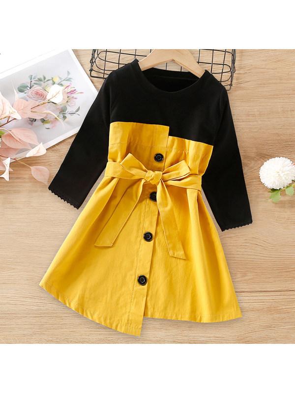 【18M-7Y】Girls Sweet Stitching Long-sleeved Dress