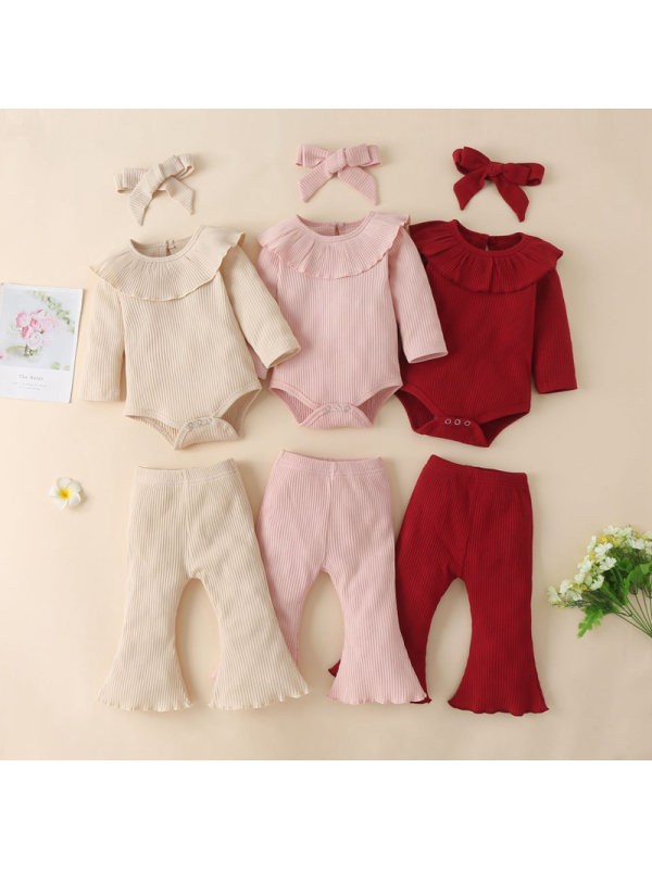 【0M-12M】Girls Solid Color Ruffled Long Sleeve Romper And Pants Set With Headband 3-piece Suit
