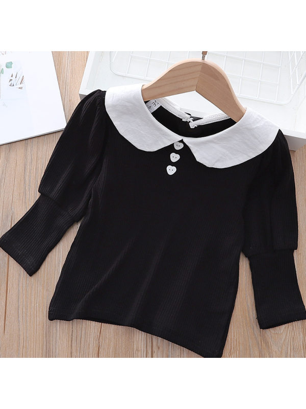 【18M-7Y】Girls Sweet Dollar Collar Puff Sleeve Shirt