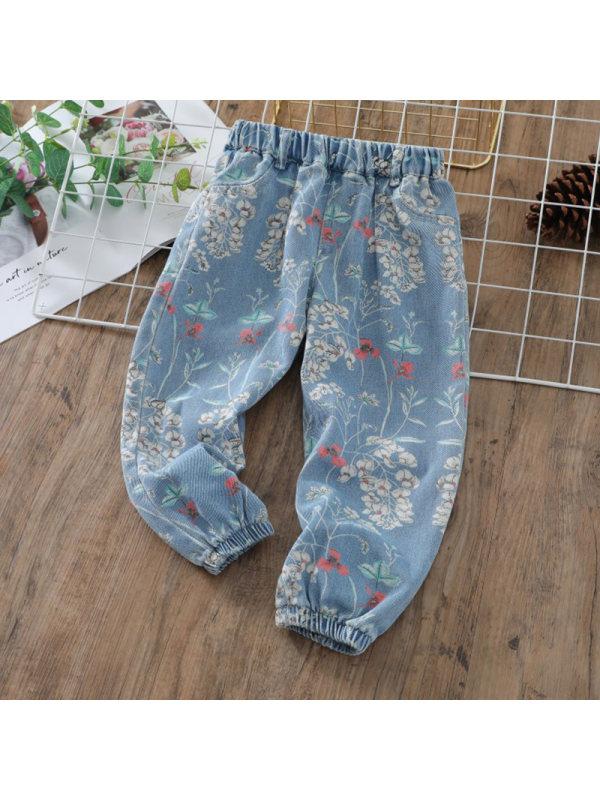 【3Y-13Y】Girls Casual Floral Print Loose Denim Trousers