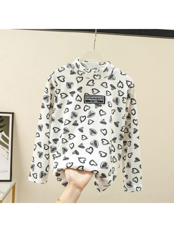 【3Y-13Y】Girls Half High Collar Love Print Long Sleeve T-shirt