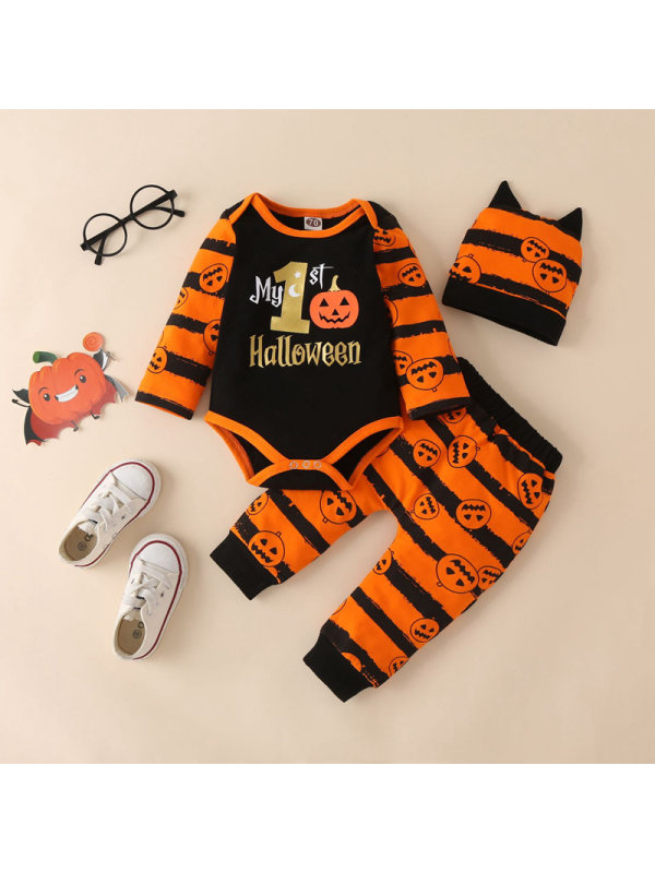 【0M-12M】Baby Boy Letter Pumpikin Long Sleeve Romper And Pants Set With Hat 3-piece Suit