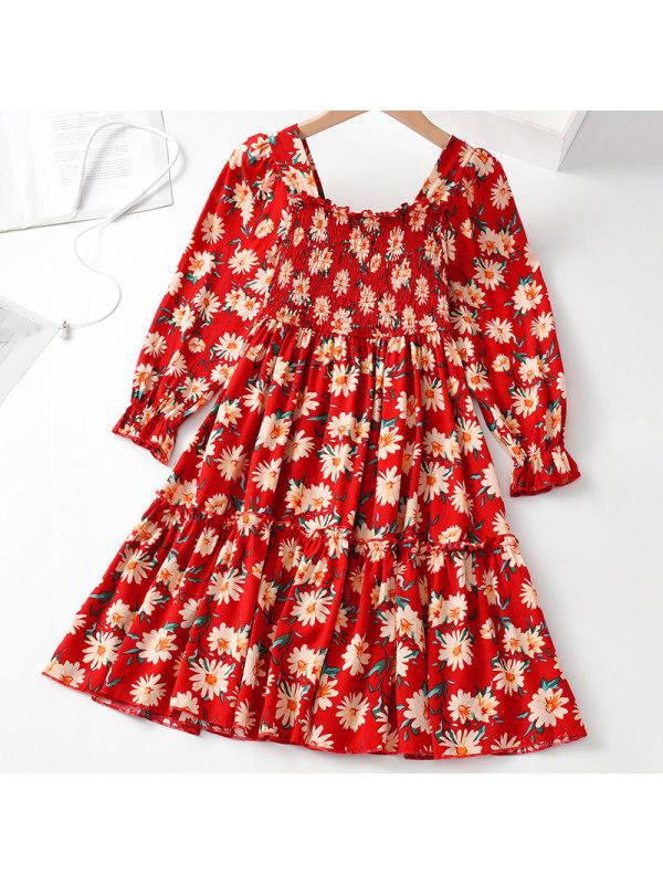 【3Y-11Y】Girl Sweet Red Floral Long Sleeve Dress
