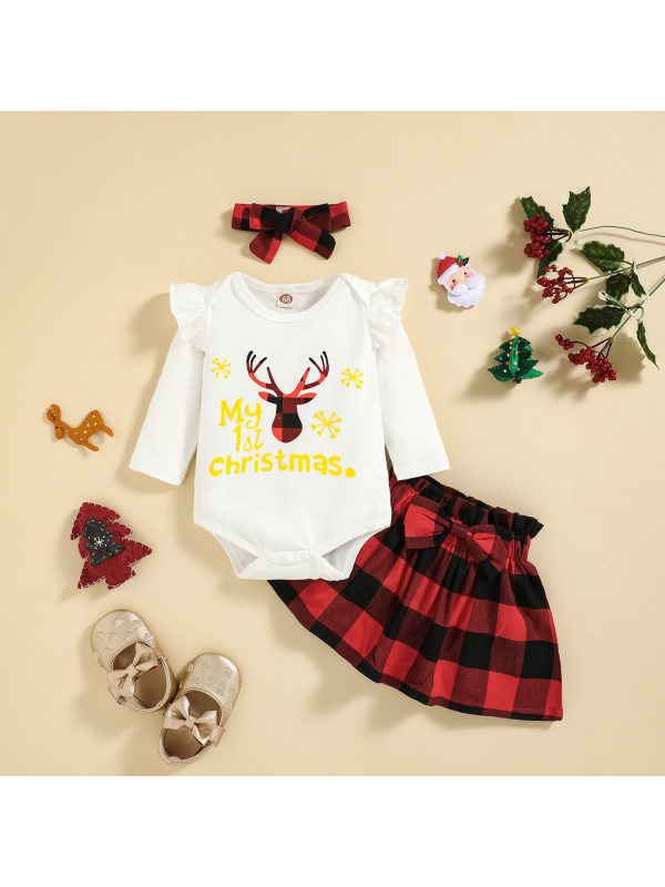 【3M-24M】Girls Reindeer Print Long Sleeve Romper And Skirt Set With Headband 3-piece Suit