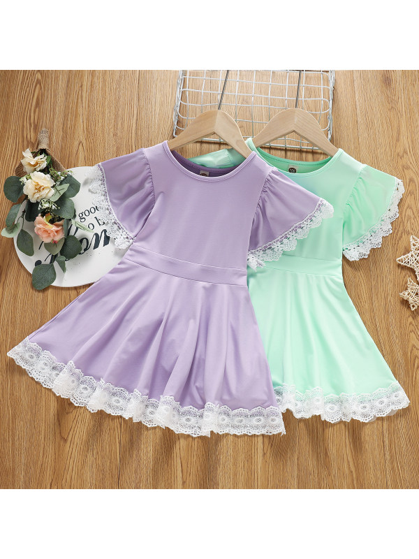 【2Y-13Y】Girls Lace Stitching Dress