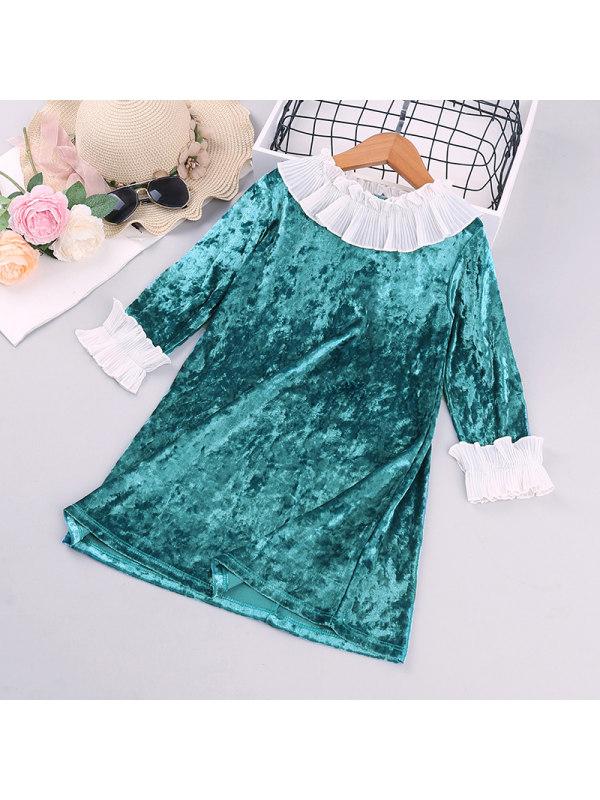 【18M-7Y】Grls Contrast Stitched Velvet Dress