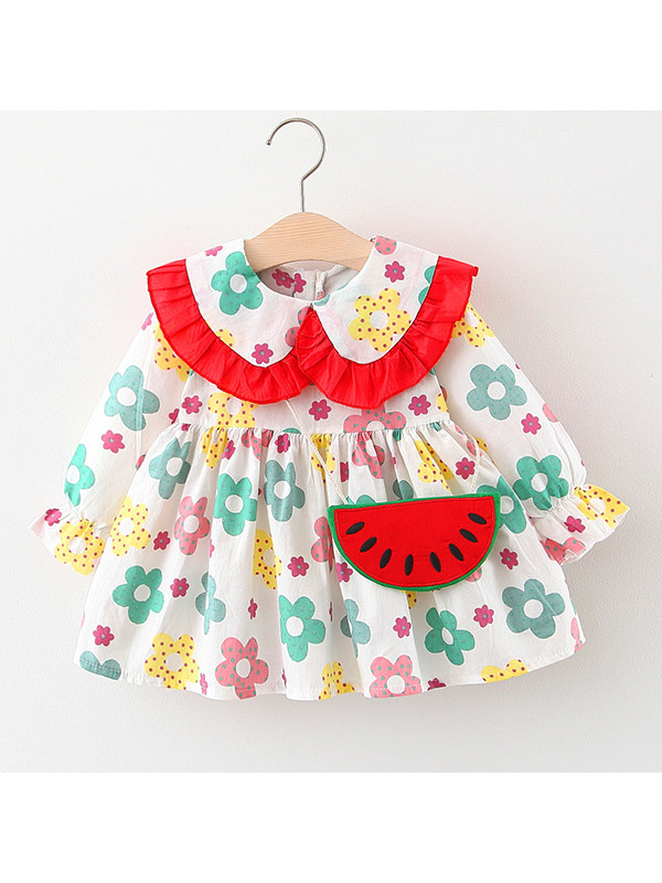 【12M-4Y】Girls Floral Dress With Bag