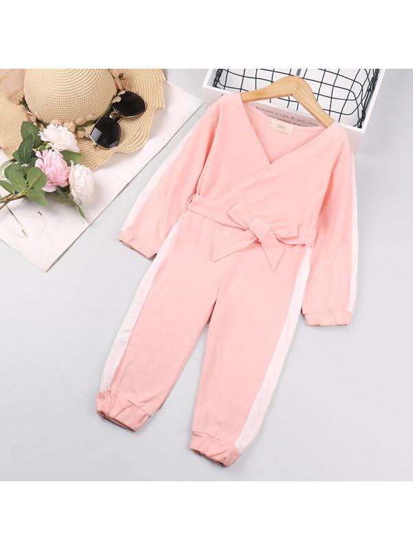 【18M-7Y】Girls Long Sleeve Contrast Color Jumpsuit