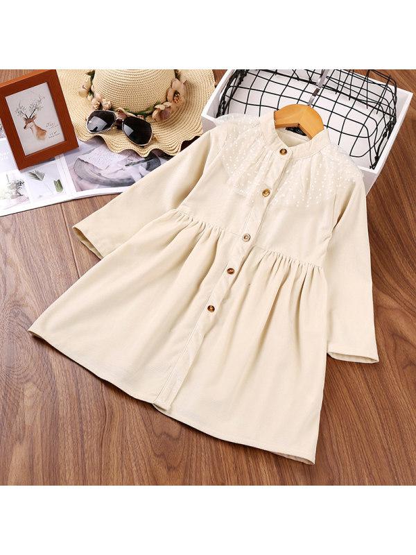 【18M-7Y】Girls Mesh Stitching Long-sleeved Dress