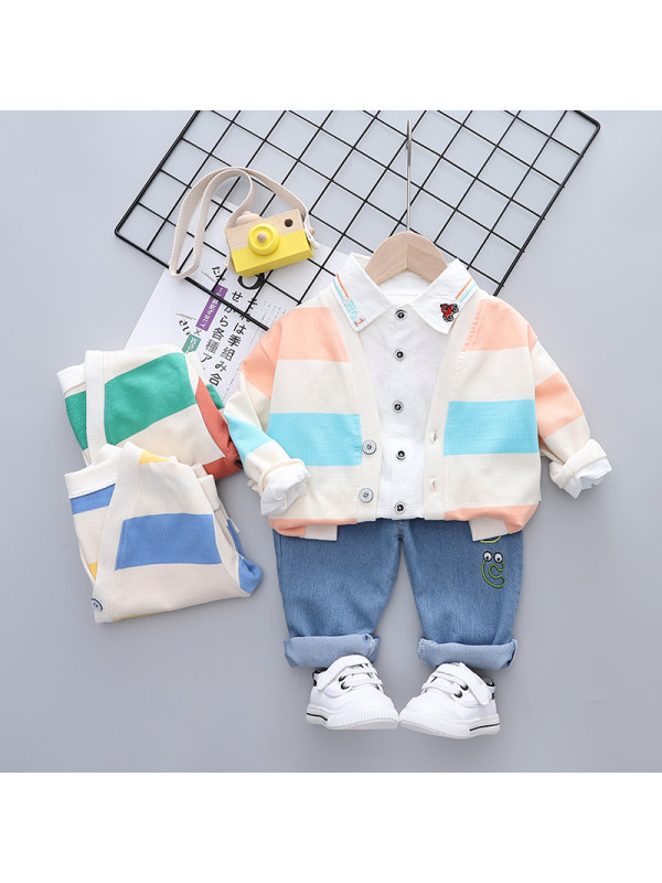【9M-3Y】Boys Striped Cardigan Long Sleeve Shirt Pants Three Piece Set