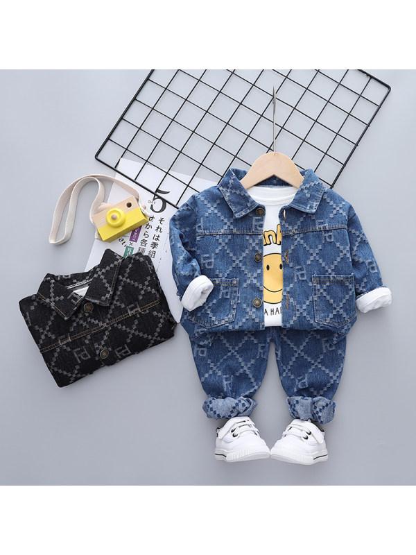 【9M-3Y】Boy Comfortable Casual Denim Three-piece Suit