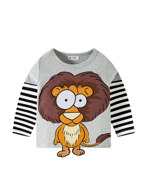 【18M-9Y】Boys Cartoon Print Contrast Color Stitching Long-sleeved T-shirt