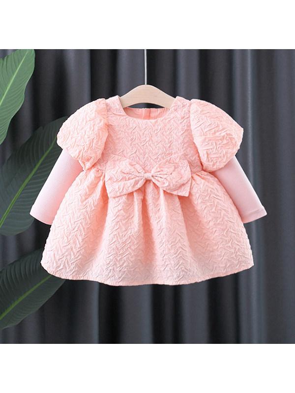【12M-4Y】Girls Bow Decorative Lantern Sleeve Dress