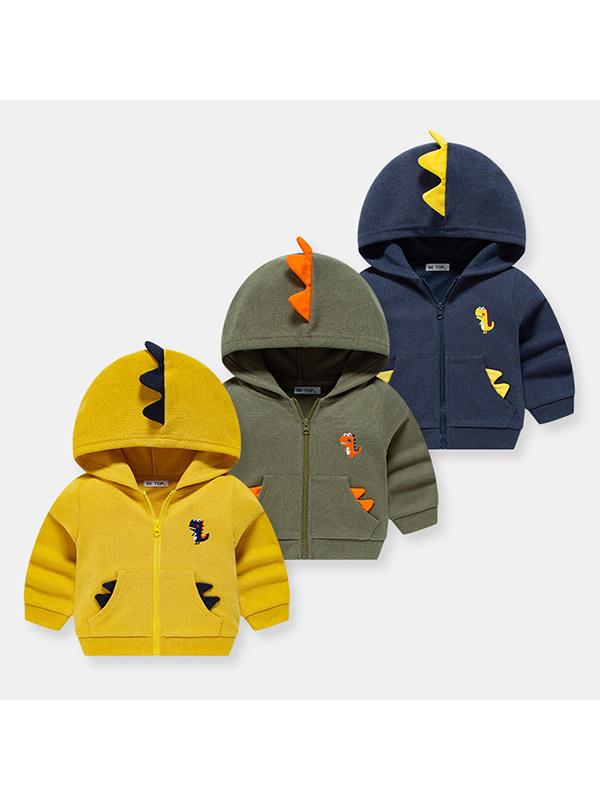 【18M-9Y】Boys Cartoon Dinosaur Print Hooded Jacket