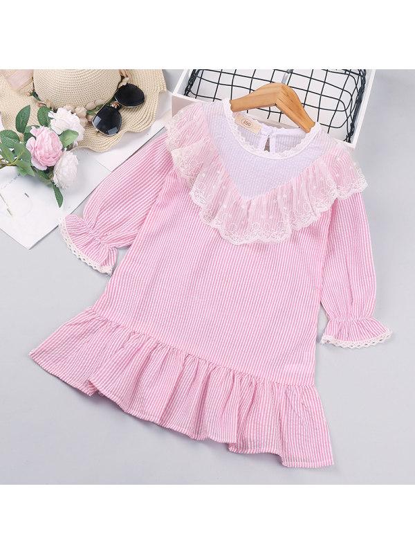 【18M-7Y】Grls Striped Lace Stitching Dress