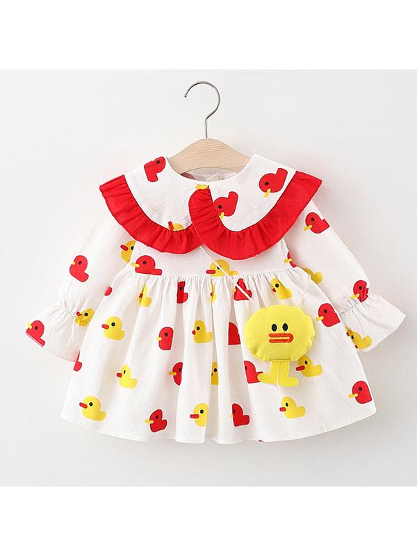 【12M-4Y】Girls Cartoon Print Dress With Bag