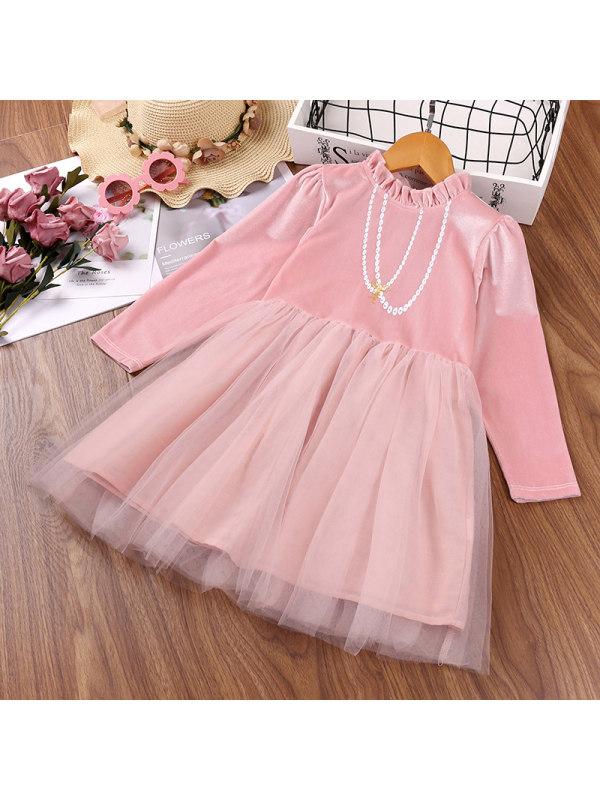 【2Y-9Y】Girls Net Yarn Stitching Velvet Dress