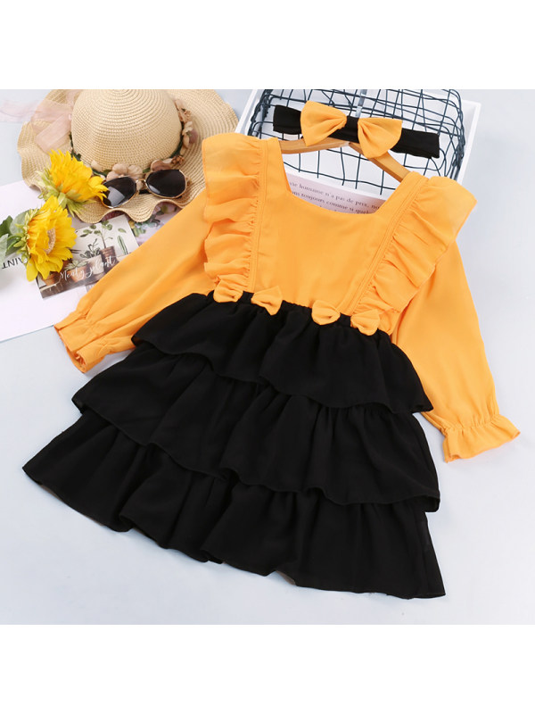 【18M-7Y】Girls Contrast Color Stitching Ruffled Long-sleeved Dress