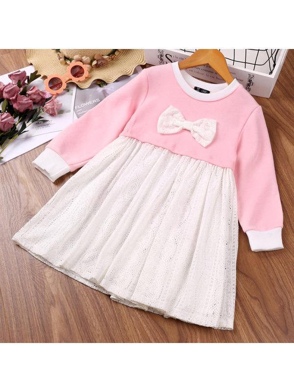 【18M-7Y】Girls Lace Stitching Contrast Dress