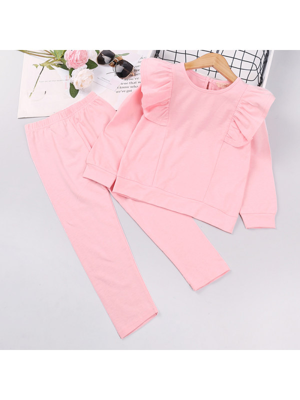 【18M-7Y】Girls Long-sleeved Sweatshirt Two-piece Suit