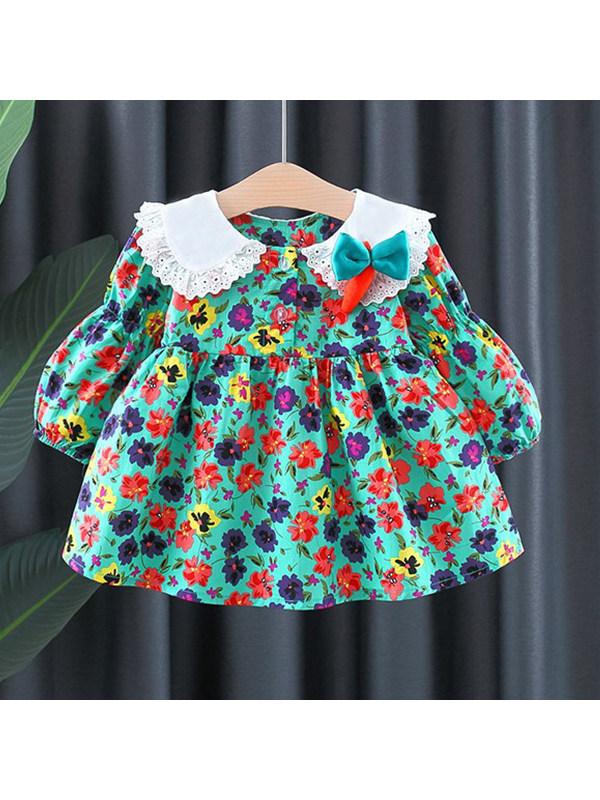 【12M-4Y】Girls Lapel Bow Decorative Dress
