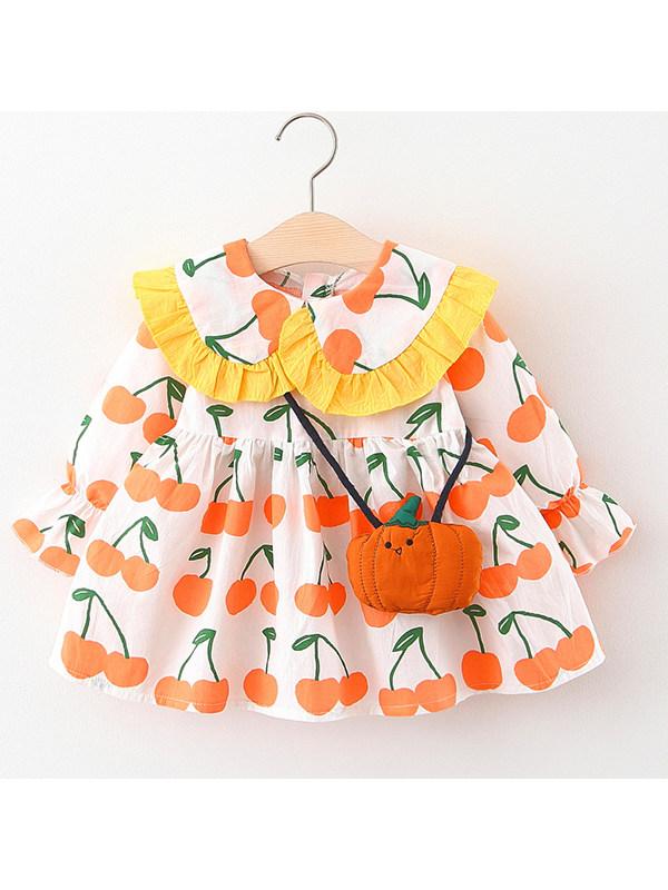 【12M-4Y】Girls Fruit Print Dress With Bag
