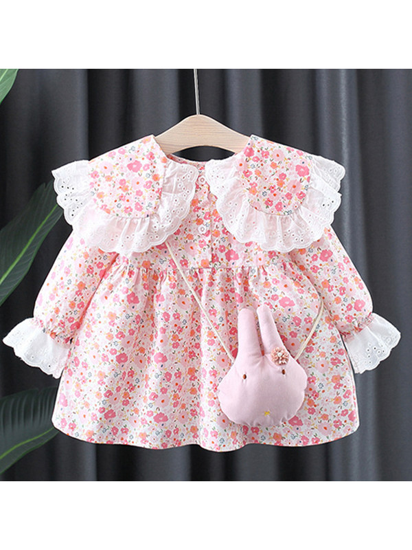 【12M-4Y】Girls Lapel Small Floral Dress With Bag