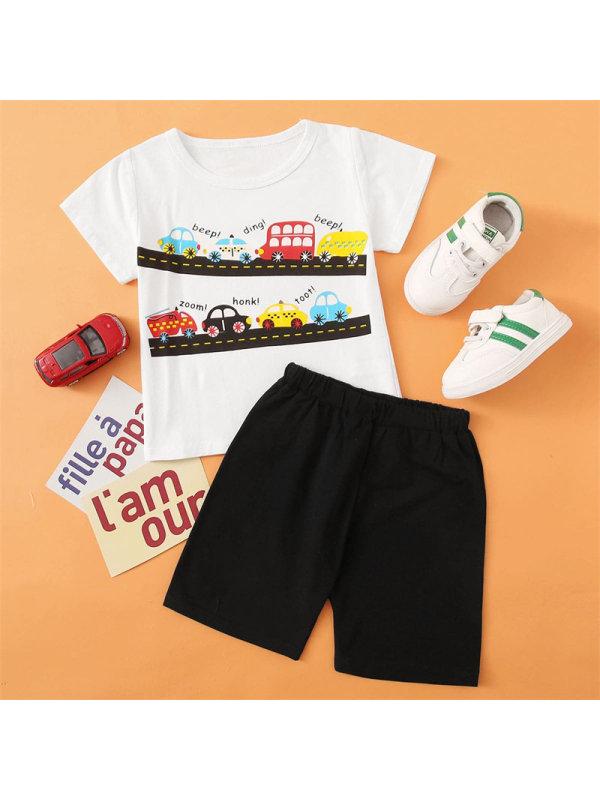 【2Y-7Y】Boy Cartoon Car Print Short Sleeve Shorts Suit