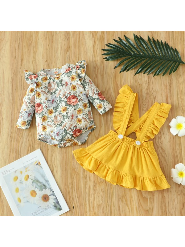 【3M-18M】Baby Girl Long-sleeved Floral Romper With Suspender Dress Two-piece Suit