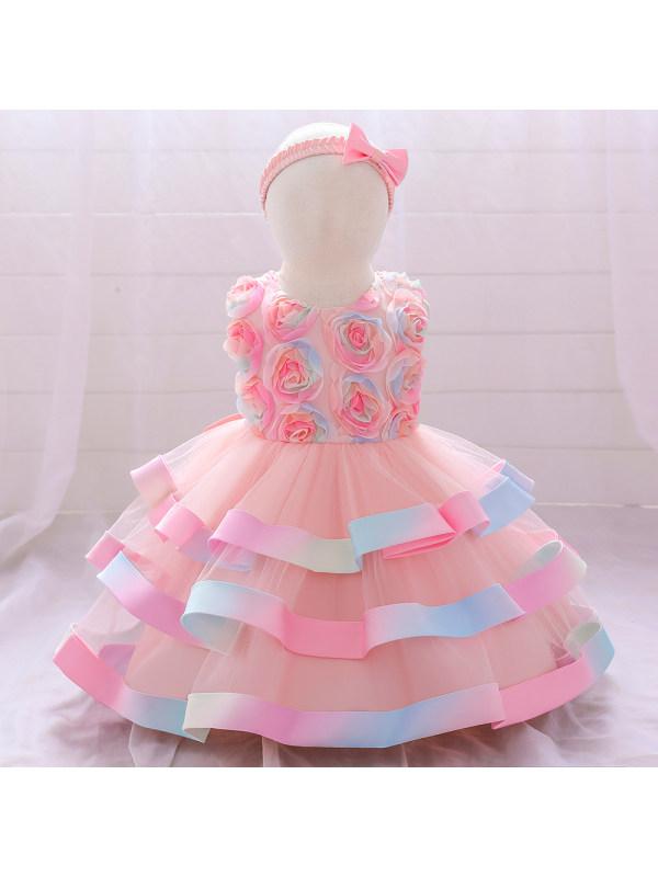 【12M-5Y】Girl Mesh Flower Puffy Cake Dress Send Hair Accessories