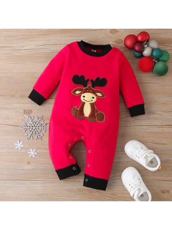 【3M-18M】Baby Christmas Series Elk Romper