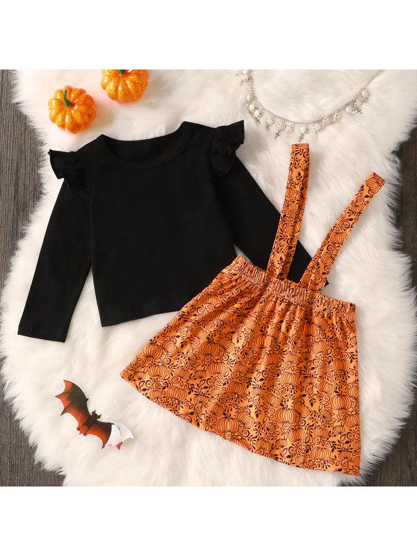 【18M-6Y】Girls Ruffled Hallwoween Pumpkin Long Sleeve Top And Suspender Skirt Set