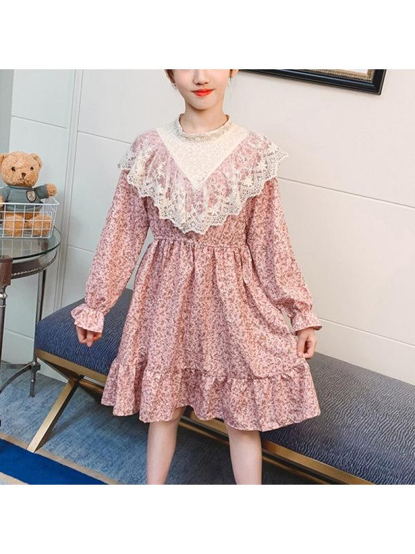 【3Y-13Y】Girls Floral Print Round Collar Ruffled Long Sleeve Dress