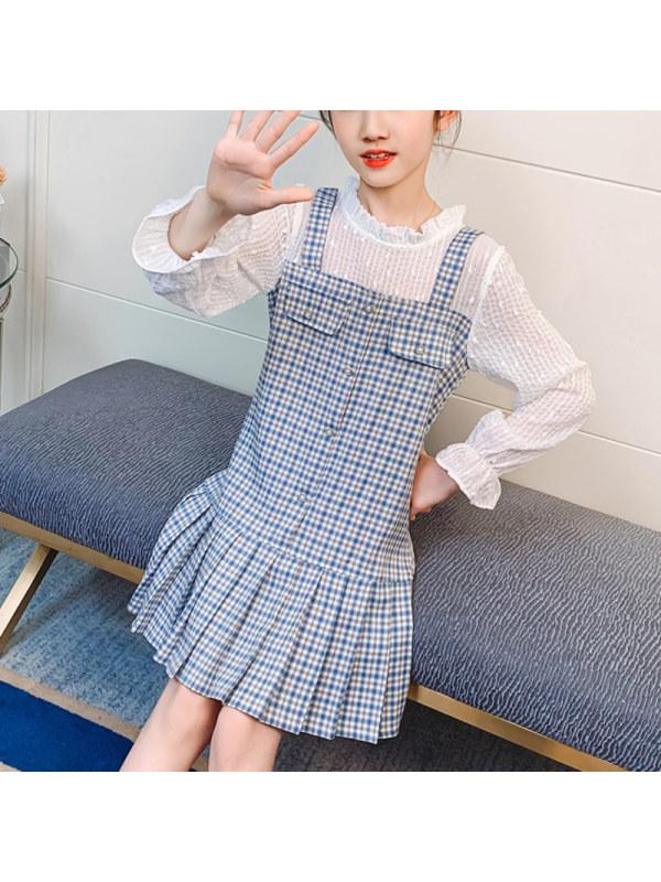 【3Y-13Y】Girls Fake Two Splicing Plaid Long Sleeve Pleated Dress