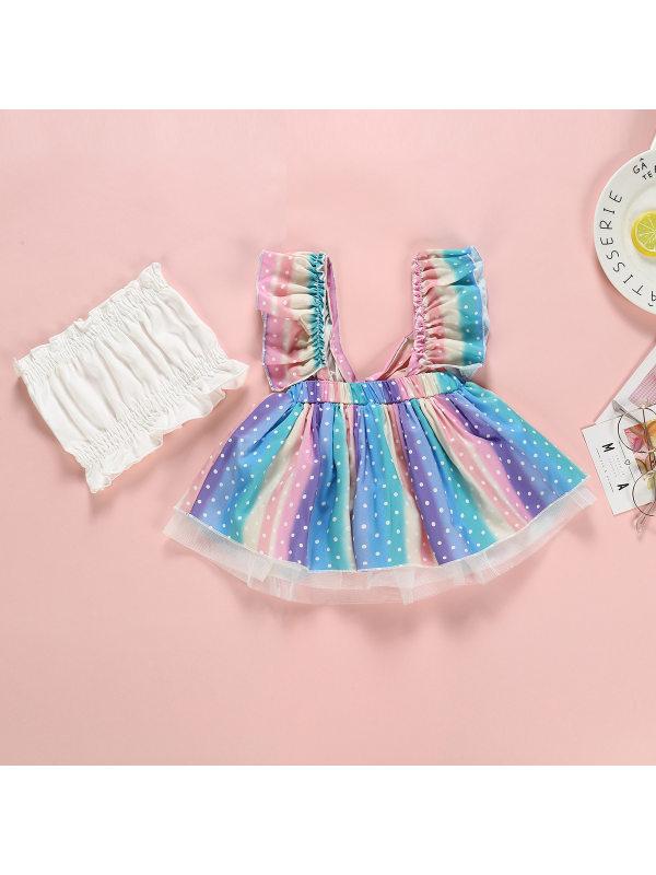 【6M-3Y】Girls Rainbow Dot Print Strapless Dress Bandeau Set