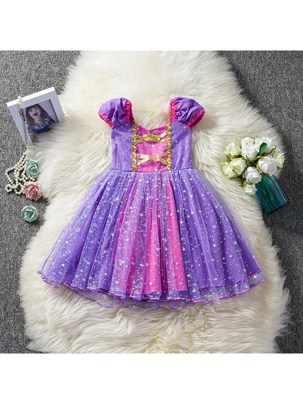 【12M-5Y】Girls Fashion Bronzing Mesh Princess Dress